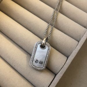 Mother of Pearl Diamond Dog Tag